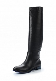 Черные осенние кожаные ботфорты