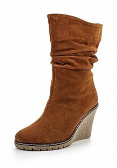 Женские оранжевые осенние сапоги на каблуке