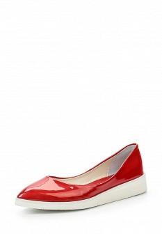 Женские красные кожаные лаковые туфли на каблуке