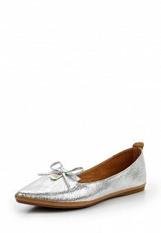 Женские серебряные кожаные туфли лоферы