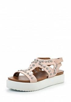 Женские розовые кожаные сандалии на каблуке