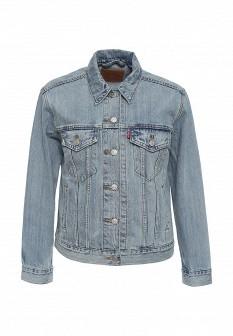 Женская голубая осенняя джинсовая куртка