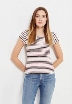 Женская бежевая осенняя футболка slim fit