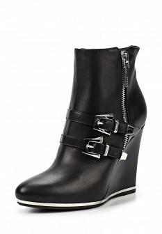 Женские черные итальянские кожаные ботильоны на каблуке