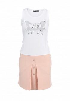 Белое розовое платье