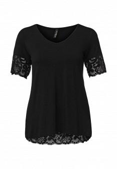 Женская черная осенняя домашняя футболка