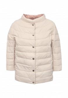 Женская бежевая розовая утепленная осенняя куртка