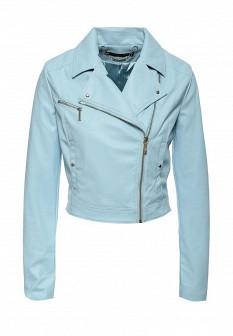 Женская голубая осенняя кожаная куртка
