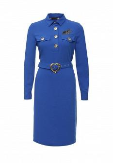 Синее осеннее платье Love Moschino