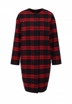 Женское красное черное осеннее пальто