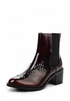 Женские бордовые кожаные лаковые сапоги на каблуке