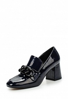 Женские синие осенние кожаные лаковые туфли