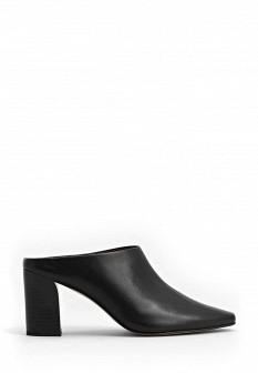 Женские черные кожаные сабо на каблуке