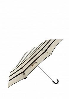 Женский бежевый черный складной зонт