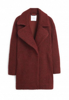 Женское бордовое осеннее пальто