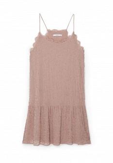Бежевое розовое осеннее платье