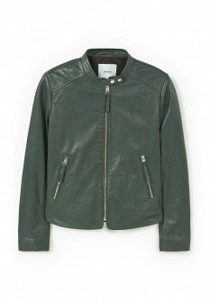 Женская зеленая осенняя кожаная куртка