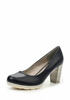 Женские синие кожаные туфли на каблуке