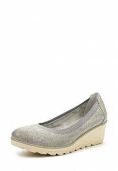 Женские голубые кожаные туфли на каблуке