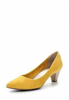 Женские желтые текстильные туфли на каблуке