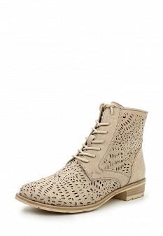 Женские бежевые ботинки на каблуке