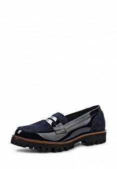 Женские синие лаковые туфли лоферы на каблуке