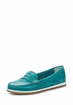 Женские бирюзовые кожаные туфли лоферы