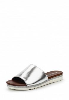 Женские итальянские серебряные кожаные летние шлепанцы