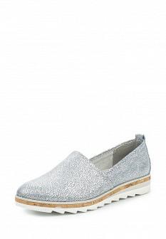 Женские серебряные кожаные туфли