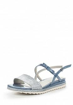 Женские голубые кожаные сандалии