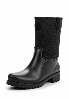 Женские черные осенние сапоги из войлока на каблуке