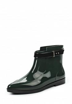 Женские зеленые осенние сапоги на каблуке