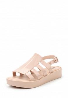 Женские бежевые сандалии на каблуке