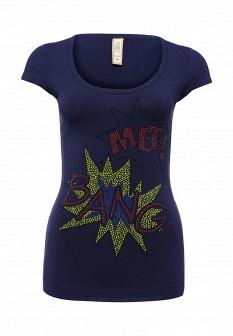 Женская синяя итальянская осенняя футболка