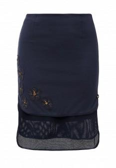 Синяя итальянская осенняя юбка