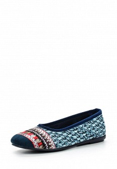 Женские синие испанские осенние текстильные тапочки