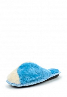 Женские голубые осенние меховые тапочки