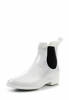 Женские белые осенние ботинки на каблуке