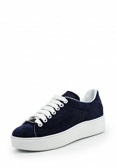Женские синие итальянские кеды на каблуках