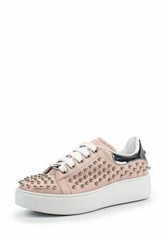Женские розовые итальянские осенние кеды на каблуках