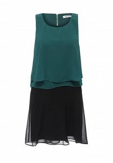 Зеленое черное платье NAF NAF