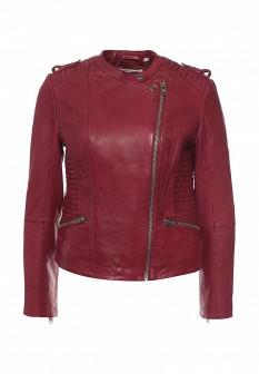 Женская бордовая осенняя кожаная куртка