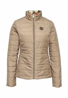 Женская бежевая белая утепленная осенняя куртка