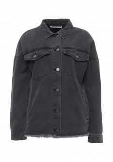Женская серая осенняя джинсовая куртка