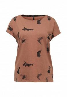 Женская коричневая осенняя футболка