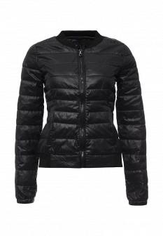 Женская черная утепленная осенняя куртка