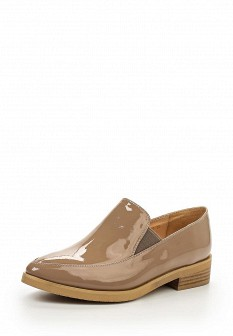 Женские бежевые лаковые туфли лоферы на каблуке
