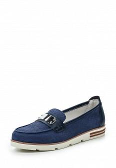 Женские синие туфли лоферы