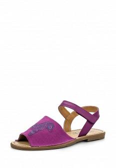 Женские фиолетовые кожаные сандалии