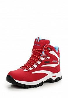 Женские красные осенние трекинговые ботинки из нубука